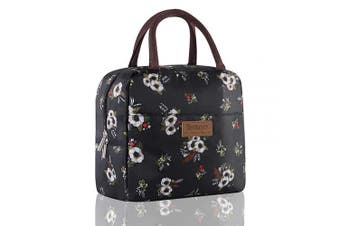 (Flowers Large Size) - Buringer Reusable Insulated Lunch Bag Cooler Tote Box with Front Pocket Zipper Closure for Woman Man Work Picnic or Travel (Flying Flowers Large Size)