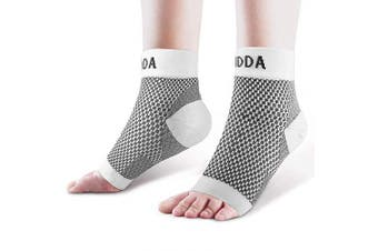 (Small, White Pair) - AVIDDA Ankle Brace for Men Women Pair Plantar Fasciitis Socks with Arch Support Compression Ankle Support Foot Sleeve for Achilles Tendon Support Swelling Eases Heel Pain Relief