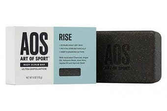 Art of Sport Exfoliating Soap Body Scrub Bar, Rise Scent, with Jojoba Oil, Argan Oil, Volcanic Rock, Aloe Vera and Activated Charcoal, Ultra Exfoliation and Intensely Moisturising, 180ml