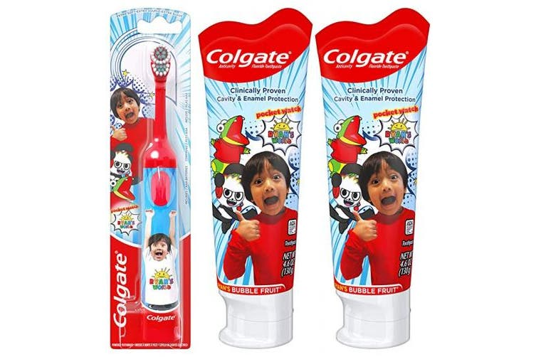 (Toothpaste and Battery Toothbrush Set) - Colgate Kids Toothpaste and Battery Powered Toothbrush Set, Ryan's World