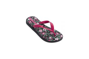 (UK 8 Infant, Black/Pink) - Ipanema Classic VII Children's Flip Flops