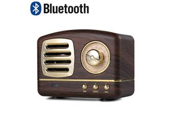 (Wooden) - Lychee Portable Retro Bluetooth Mini Speaker,Old Fashioned Classic Style,Strong Bass Stereo Speaker, Built-in Mic,Hand - free Calls,Best Gift for Friends and Families (Wooden)