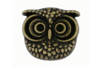 (Antique Brass) - Bezelry 12 Pieces Cute Owl Antique Brass Colour Metal Shank Buttons 15mm (Antique Brass)