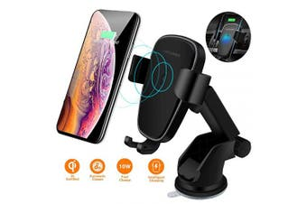 (Black-01) - Wireless Car Charger Mount, DORISO Auto-Clamping 10W/7.5W Qi Fast Car Phone Holder for Windshield Dashboard Air Vent, Compatible with iPhone Samsung Nexus Moto HTC and All Qi-Enabled Device