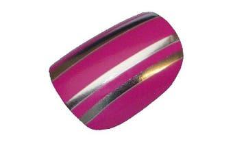 Chix Nails Nail Wraps Pink Silver Chrome Stripes Fingers Toes Vinyl Foils Beauty False Stickers