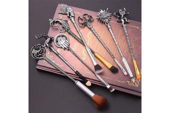 (Ancient Silver) - XIANGLIOOD 8 Pcs Magic Hairpin Game Of Thrones Makeup Brush Set with Gift Bag Eyeshadow Eyeliner Blending