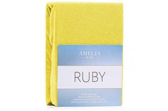 (Yellow, 120x200 - 140x200 cm) - AmeliaHome Fitted Sheet 120x200-140x200 cm Terry Towelling Cotton Yellow Ruby