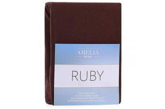 (Brown, 100x200 - 120x200 cm) - AmeliaHome Fitted Sheet 100x200-120x200 cm Terry Towelling Cotton Brown Ruby