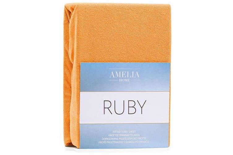 (Orange, 160x200 - 180x200 cm) - AmeliaHome Fitted Sheet 160x200-180x200 cm Terry Towelling Cotton Orange Ruby