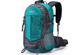 (Peacock Green) - G4Free 35L Waterproof Hiking Backpack Outdoor Rucksack Trekking Daypack for Camping Hiking Backpacking Climbing with Rain Cover