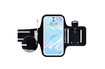(For iPhone XR/Xs Max/8Plus) - BRAVESHINE Running Armband for iPhone Xs/XR/Xs Max/6Plus/7Plus/8Plus Jogging Phone Holder, Sweatproof Sports Armband with Running Earphone and Key & Card Holder for Running,Jogging,Cycling