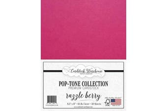 (Razzle Berry) - Razzle Berry/Fuchsia Pink Cardstock Paper - 22cm x 28cm 29kg. Cover -50 Sheets from Cardstock Warehouse