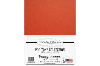 (Tangy Orange) - Tangy Orange Cardstock Paper - 22cm x 28cm 29kg. Cover -50 Sheets from Cardstock Warehouse