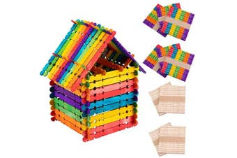 Alphatool 500 Pcs Colourful Sawtooth Wood Craft Sticks- Assorted Colour and Natural Wooden Popsicle Sticks Jumbo Ice Pop Treat Sticks Bulk for DIY Craft Project, Classroom Creative Designs (11cm )