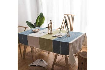 (140X200CM) - SANEKI Table Cloth Cover Linen for Dining Table Kitchen with Tassel Designed Washable Tablecloths Rectangle Tablecloth 55X78 Inches (140X200CM)