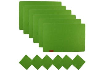 Famibay Felt placemats and Coasters Set of 6 Stain Resistant Durable Table Mats for Dinner(Green)
