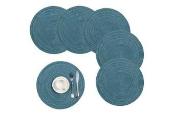 (Set of 6, Dark Blue) - Pauwer 38cm Woven Round Placemats Heat Insulation Non Slip Braided Cotton Dinner Table Mats Large Washable Kitchen Dining Table (Dark Blue, Set of 6)