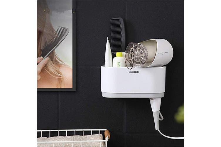 (Hair Dryer Rack) - Meiyijia Home Wall Mount Hair Dryer Holder Rack,Self Adhesive Double Hole Hair Dryer Organiser,Rack with Hair Straightener Holder
