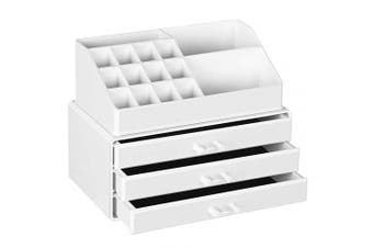 (White, 1) - SONGMICS Cosmetics Organiser, Makeup Storage Holder with 3 Drawers and 15 Compartments of Different Sizes, Non-Slip Mats, for Makeup and Jewellery Accessories, White JKA002WT