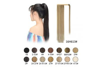 (16H613 Light Ash Brown & Bleach Blonde) - BARSDAR Ponytail Extension 70cm Long Straight Wrap Around Hair Piece for Women Synthetic Hair for Daily Use (16H613 Light Ash Brown & Bleach Blonde)