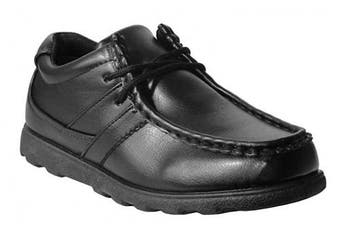 (2 UK, Black) - Boys Kids Youth Lace Up Derby Black Formal School Scuff Resistant Shoes UK 13-5