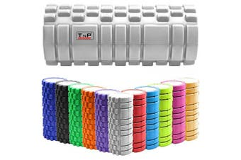 (Grey) - TnP Accessories. Massage Grid Foam Roller Pilates Physio Yoga Muscle Rehab Trigger Point Gym Injury Sports Exercise Therapy Pain Relief Massage Hollow Foam Roller