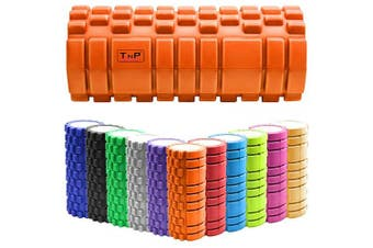 (Orange) - TnP Accessories. Massage Grid Foam Roller Pilates Physio Yoga Muscle Rehab Trigger Point Gym Injury Sports Exercise Therapy Pain Relief Massage Hollow Foam Roller