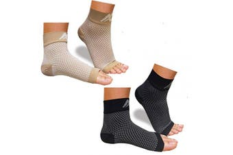 (Small, Nude+black) - Plantar Fasciitis Socks with Arch Support for Men & Women - Best Compression Socks Foot Sleeve for Aching Feet & Heel Pain Relief