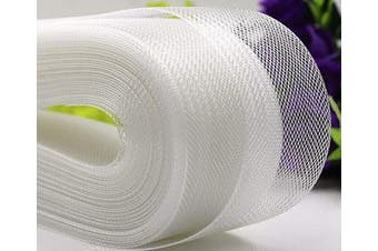 (10cm  25 Yard, White) - Polyester Boning Stiff Horsehair Braid for Sewing Wedding Dress Dance Gowns Dress Accessories, White (10cm 25 Yard)
