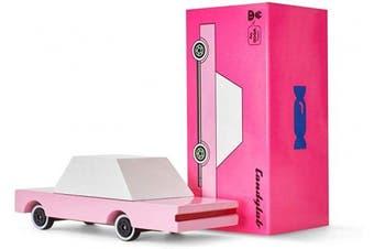 (Pink Sedan) - Candylab Toys Wooden Cars, CandyCar Pink Sedan, Kids Mini Toy Car, Solid Beech Wood