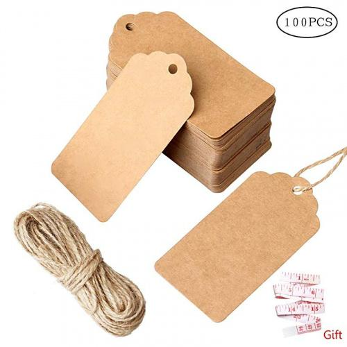 (100 pcs brown) - nuoshen 100 Pcs Gift Tags, Kraft Paper Tags Hang Tags DIY Price Tags Parcel Tags for Wedding with String Colour Name: 100 pcs brown Specifications: Colour:Brown. Material:Made of high quality paper card. Size:Tag size 4.5*9cm string length 10 metres.Features: metres.Fea jute twine is 10 metres long,durable and multi-purpose for DIY projects. metres.Feaat as wedding favour tags, gift tags or other place name cards,They are stunning wedding favour that you will be proud to present to your guests. metres.Fea vintage tags are perfect for clothing tags, price tags, gift tags,mason jar tags, Christmas gift tags, festival gift cardPackage includes: 100 piece gift tags and 10 metres jute twine metres.Feae: Our products contain small gifts, if you have not received them, you may have purchased other sellers' counterfeit.