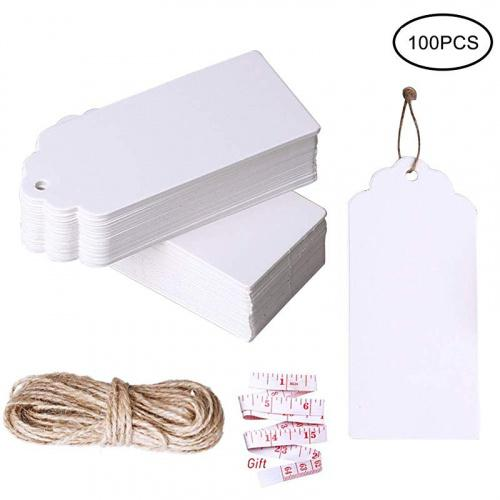 (100 pcs white) - nuoshen 100 Pcs Gift Tags, Kraft Paper Tags Hang Tags DIY Price Tags Parcel Tags for Wedding with String Colour Name: 100 pcs white Specifications: Colour:White. Material:Made of high quality paper card. Size:Tag size 4.5*9cm string length 10 metres.Features: metres.Fea jute twine is 10 metres long,durable and multi-purpose for DIY projects. metres.Feaat as wedding favour tags, gift tags or other place name cards,They are stunning wedding favour that you will be proud to present to your guests. metres.Fea vintage tags are perfect for clothing tags, price tags, gift tags,mason jar tags, Christmas gift tags, festival gift cardPackage includes: 100 piece gift tags and 10 metres jute twine metres.Feae: Our products contain small gifts, if you have not received them, you may have purchased other sellers' counterfeit.
