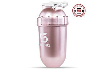 (Rose Gold) - ShakeSphere Tumbler: Protein Shaker Bottle, 710ml ● Capsule Shape Mixing ● Easy Clean Up ● No Blending Ball or Whisk Needed ● BPA Free ● Mix & Drink Shakes, Smoothies - Rose Gold