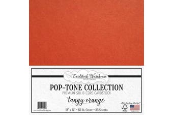 (Tangy Orange) - Tangy Orange Cardstock Paper - 30cm x 30cm 29kg. Premium Cover - 25 Sheets from Cardstock Warehouse