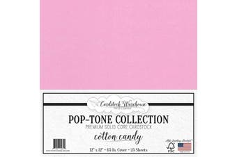 (Cotton Candy) - Cotton Candy Pink Cardstock Paper - 30cm x 30cm 29kg. Premium Cover - 25 Sheets from Cardstock Warehouse