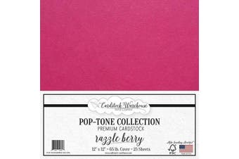 (Razzle Berry) - Razzle Berry/Fuchsia Pink Cardstock Paper - 30cm x 30cm 29kg. Premium Cover - 25 Sheets from Cardstock Warehouse