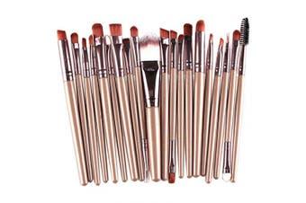 KOLIGHT Set of 20pcs Cosmetic Makeup Brushes Set Powder Foundation Eyeliner Eyeshadow Lip Brush for Beautiful Female (Gold+Coffee)