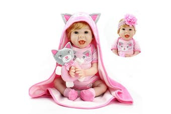 Aori Reborn Baby Dolls 60cm Handmade Realistic Baby Girl Dolls with Kitty Toy and Pink Hood Safety for Girls Age 3