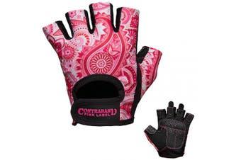 (X-Small, Pink) - Contraband Pink Label 5387 Womens Design Series Paisley Print Lifting Gloves (Pair) - Lightweight Vegan Medium Padded Microfiber Amara Leather w/Griplock Silicone