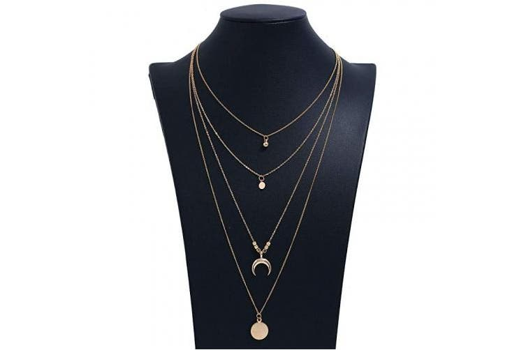 Luxcastle Luxcastle Coin Moon Multilayer Necklace Fashion Women Sequins Pendant Necklace Long Chain for Girls