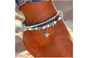 (Turtle) - Boho Anklets,Lucbuy Ankle Bracelets Blue Starfish Turtle Multi-Layer Charm Beads Beach Handmade Anklet Foot Jewellery Gifts for Women Girls
