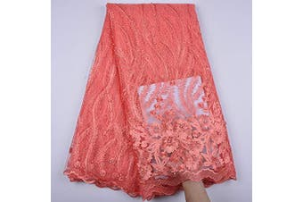 (coral) - 3 Yards African Lace Fabric Nigerian French Beaded Lace Net Fabric Embroidered Fabric for Wedding Party Dress Corded Guipure K7 (Coral)