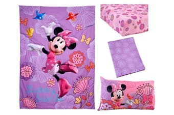 "(Minnie""s Fluttery Friends) - Disney 4 Piece Minnie's Fluttery Friends Toddler Bedding Set, Lavender"