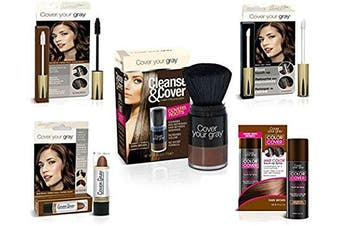 Cover Your Roots - Cover, Cleanse and Refresh: 5 Piece Grey Coverage Set, Dark Brown