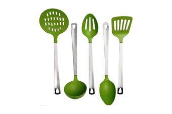 Cook's Corner 5-Piece Kitchen Utensil Set - Stainless Steel & Green