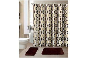 (Helix Coffee) - All American Collection New 15 Piece Bathroom Mat Set Memory Foam with Matching Shower Curtain