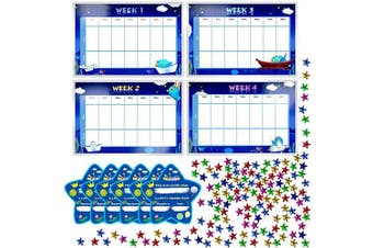 "Potty Training Reward Chart with 4X Waterproof Weekly Charts, 6X Diploma, 600X Colourful Stars. Perfect for Multiple Toddlers' Motivational Toilet Training (Each Chart 11"" X 7"")"