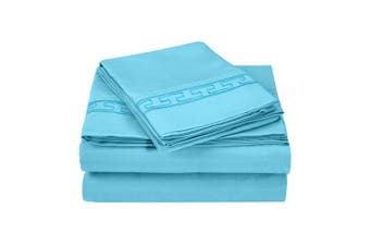 Superior Regal Greek Key Embroidered Sheets, Luxurious Silky Soft, Light Weight, Wrinkle Resistant Brushed Microfiber, Full Size 4-Piece Sheet Set, Aqua