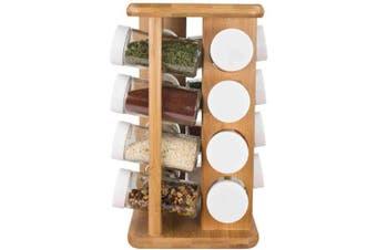 Home Basics 16 Piece Revolving Bamboo Spice Rack
