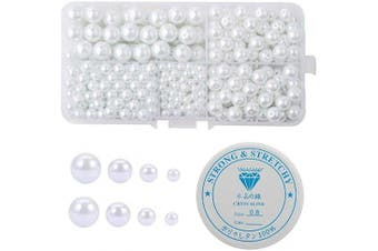 (White 4-10mm) - Amaney 430 pcs 4-10mm Satin Lustre Glass Pearl Beads Round White with 1mm Hole and 1 Roll Elastic Crystal String Cord for Jewellery Making Bracelets Necklaces Key Chains and Kids Jewellery (White 4-10mm)